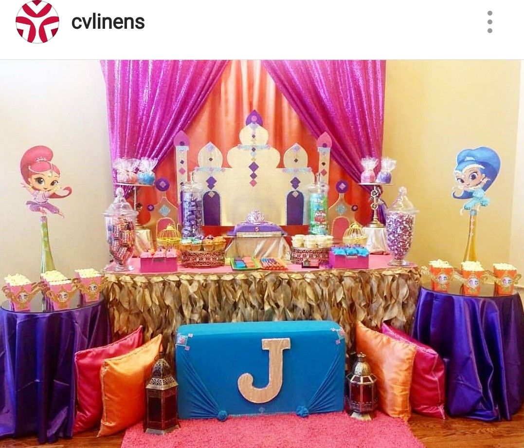 Shimmer And Shine Birthday Party Dessert Table And Decor 1st Birthday Party For Girls Shimmer And Shine Cake Baby Birthday Party Girl