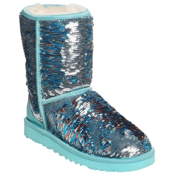 f805958a13f Pre-owned Ugg Australia Blue Classic Short Sparkle Teal Boots ($108 ...