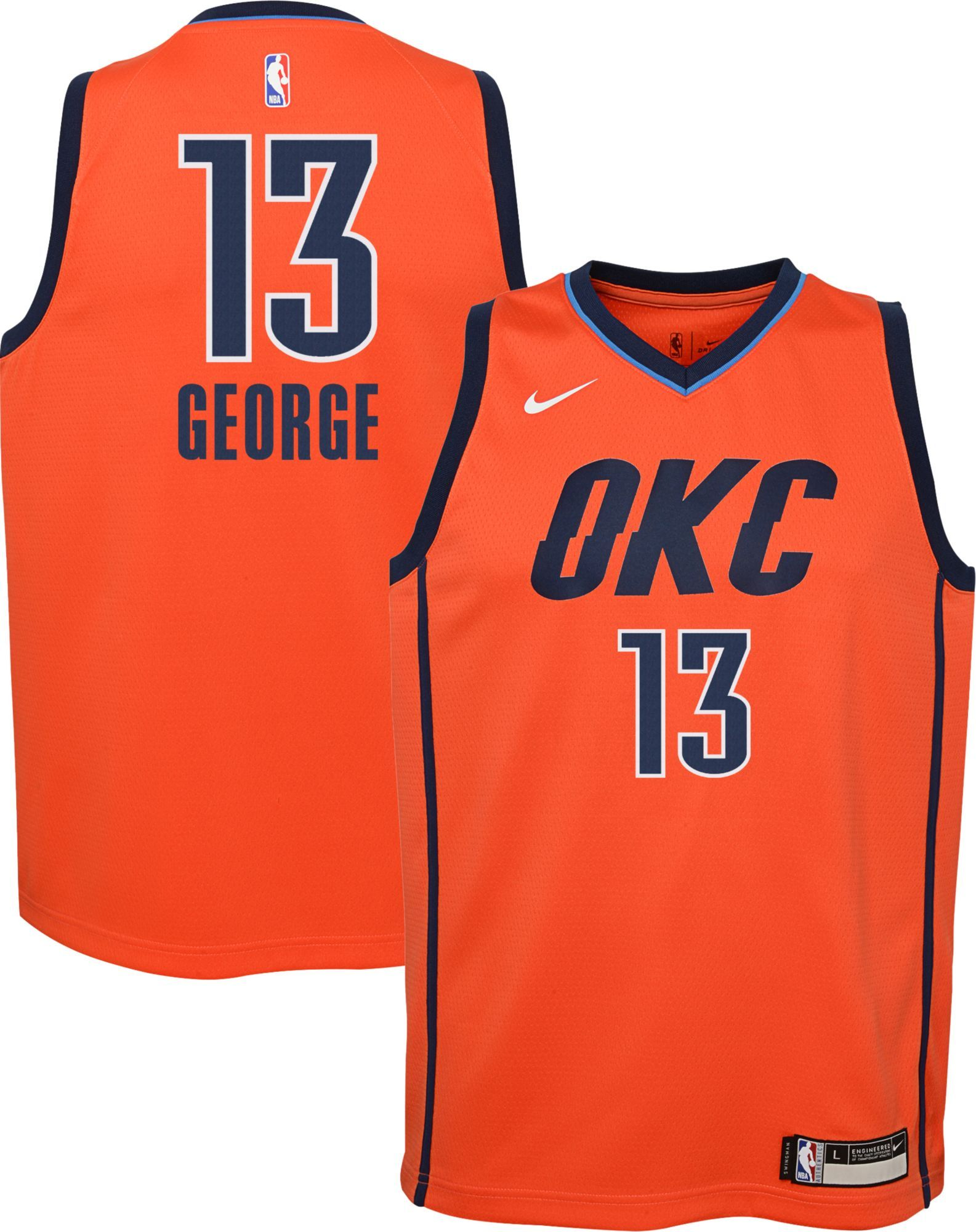 huge selection of fd046 4b496 Nike Youth Oklahoma City Thunder Paul George Dri-FIT Earned Edition  Swingman Jersey, Size  XL, Orange