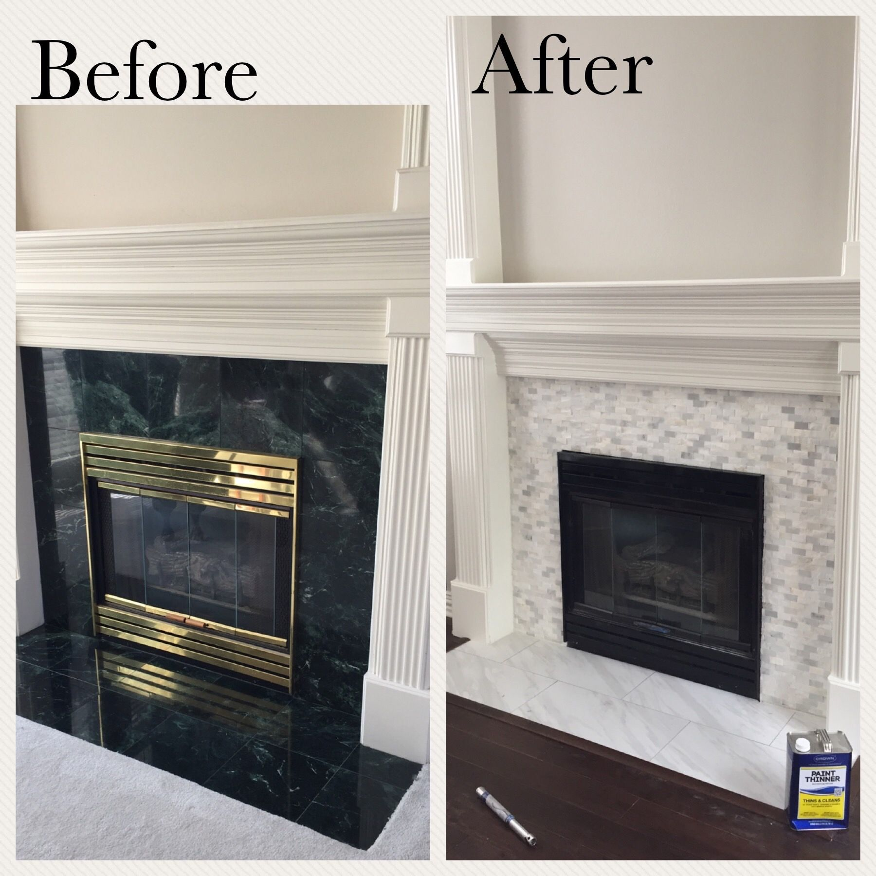 Fireplace Updated By Painting Brass Black And Replacing Green Square Tiles With Carerra Marble Gas Fireplace Makeover Fireplace Update Fireplace Tile Surround