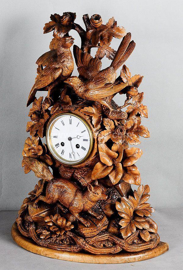 Antique Carved Wood Mantel Clock With Fox Swiss 1900 Kaminnaya Polka Rezba Po Derevu Chasy S Kukushkoj