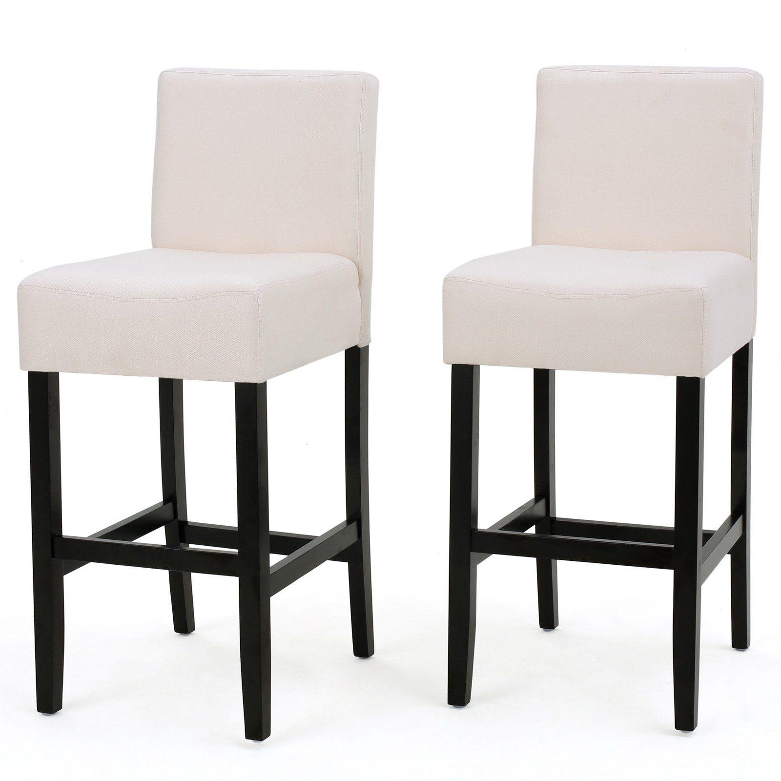 Ligan Upholstered Bar Stool Set Of 2 Beige Upholstered Bar