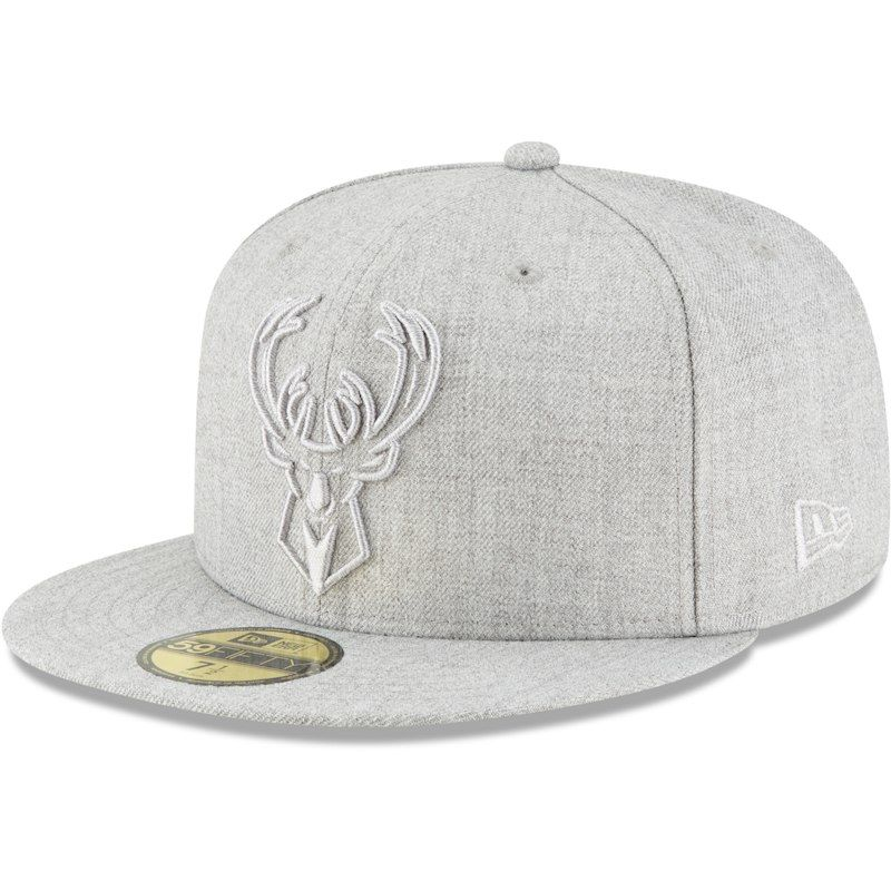 Milwaukee Bucks New Era Twisted Frame 59FIFTY Fitted Hat - Gray ... 625833e9e