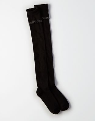 c34f9b90057 COLOR BLACK AE Lightweight Pointelle Over-The-Knee Socks by American Eagle  Outfitters