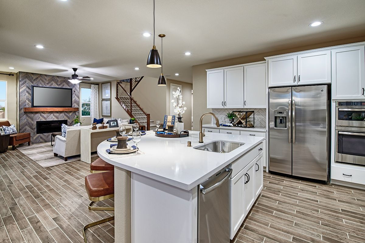 Wood Look Tile Stainless Steel Appliances Andrea Model Home Kitchen Great Room Stockton California R Richmond American Homes Kitchen Style New Homes