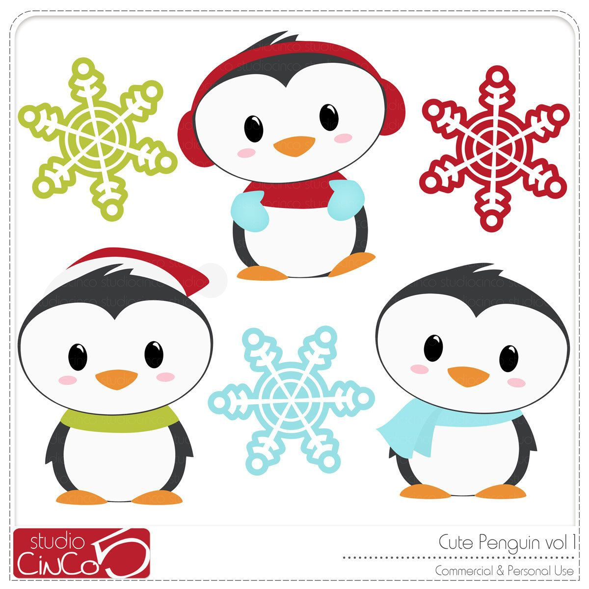 Cute Penguin Digital Clip Art  Commercial and Personal Use
