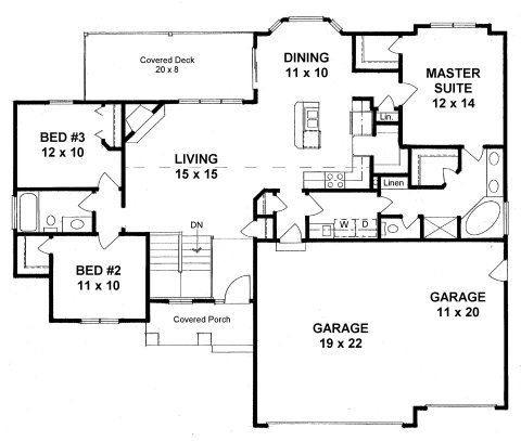 Plan 1460 3 Bedroom Ranch Walk In Pantry 3 Car Garage Open