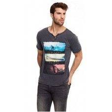 POINT ZERO Trendy Graphic Henley T-Shirt