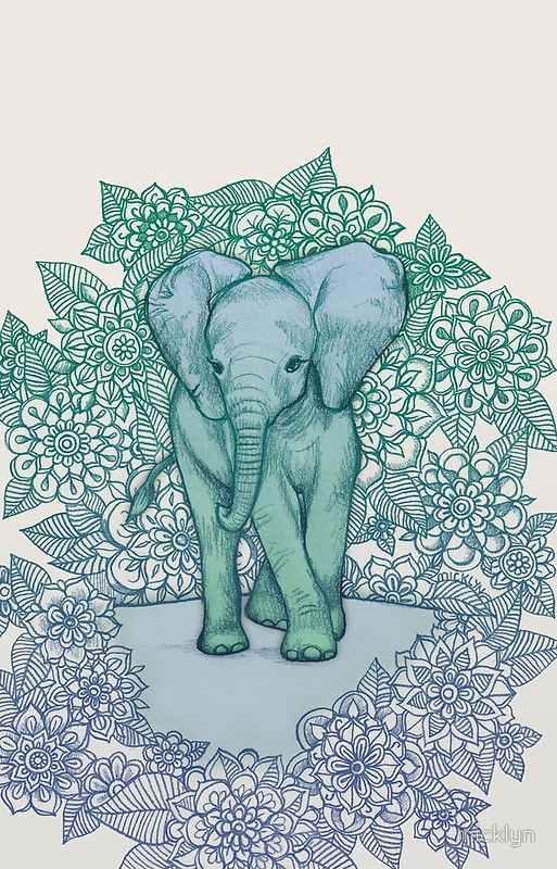 Emerald Elephant In The Lilac Evening Iphone Case Cover By Micklyn Blue Art Prints Cute Baby Elephant Blue Wall Tapestry