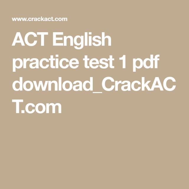 ACT English practice test 1 pdf download_CrackACT com | ACT
