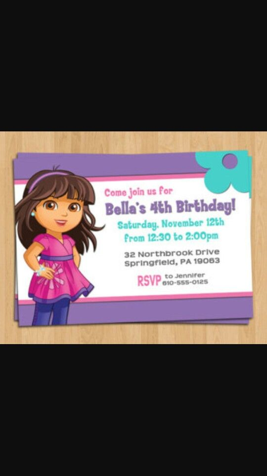 Dora and friends birthday invitation | Dora and Friends Bth party ...