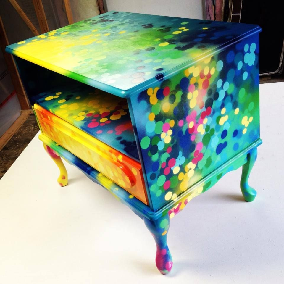 Nightstand Bedside Table Graffiti Painting Artwork On Furniture By Artist Dudeman 2013