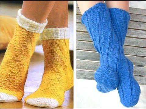 Вязанные носки спиралью