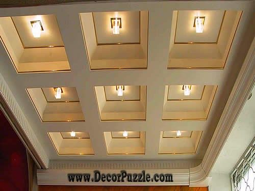 Coffered ceiling plaster of paris ceiling and molds for Plaster of paris interior roof decoration designs