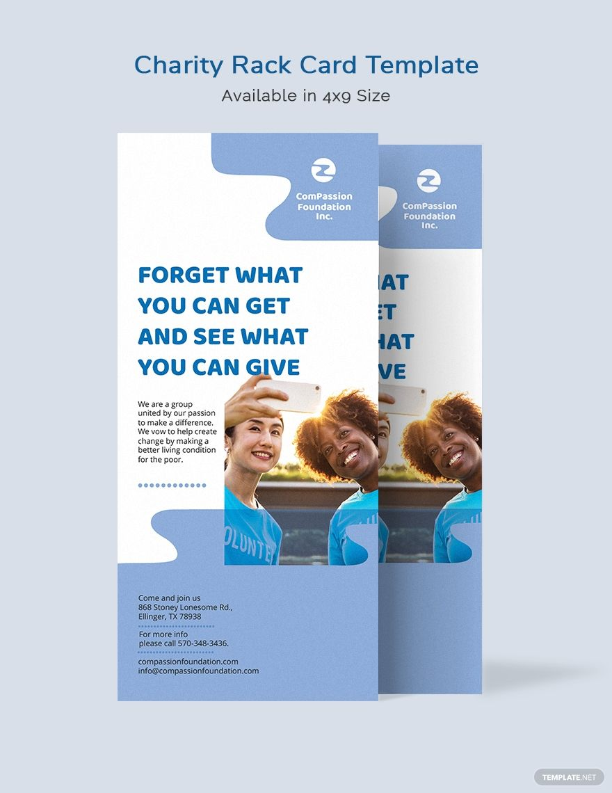 Charity Rack Card Template Word Doc Psd Indesign Illustrator Publisher Rack Card Templates Rack Card Card Template