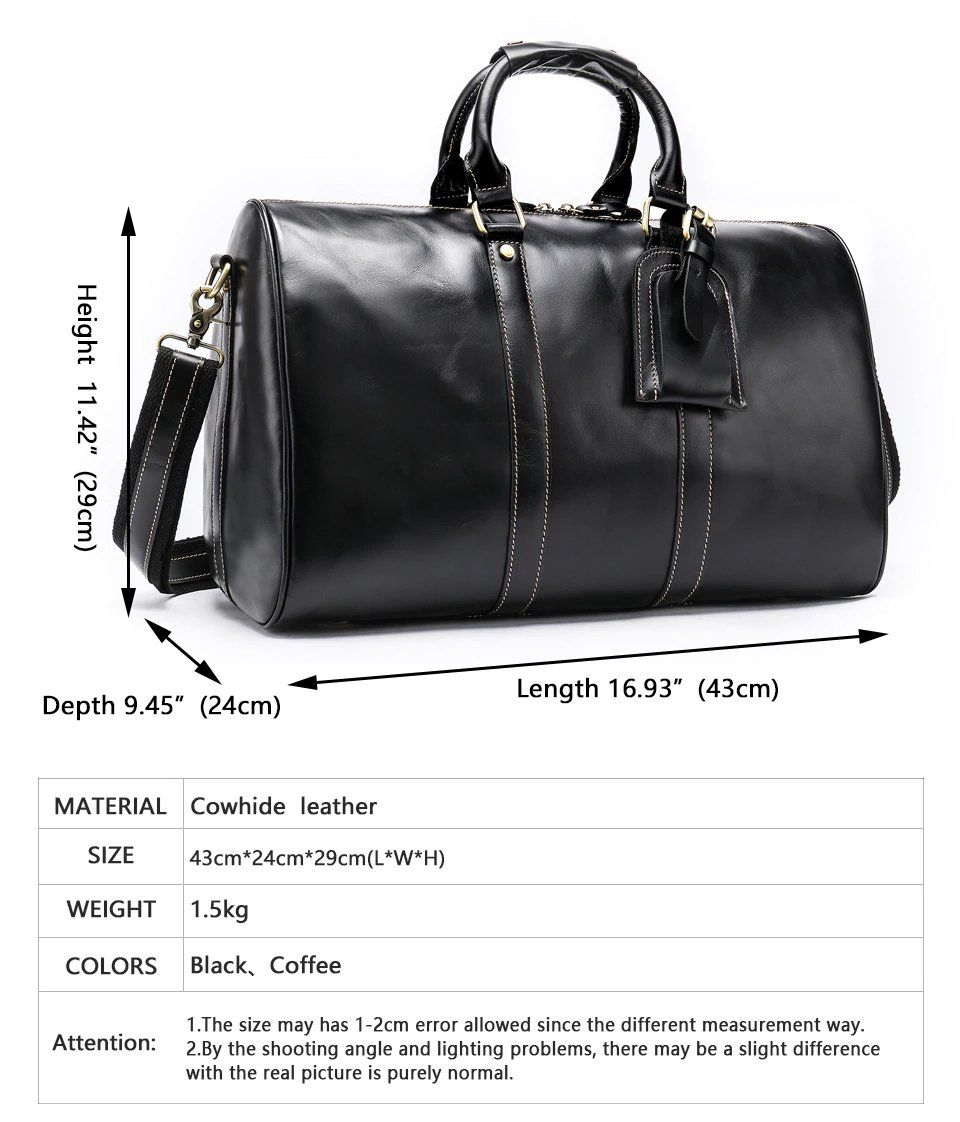 c36efb1795 Genuine Leather Travel Bag For Men Large Capacity 100% Leather Stylish  Weekend Bag Men s Luggage Bag For Travel - Black or Brown