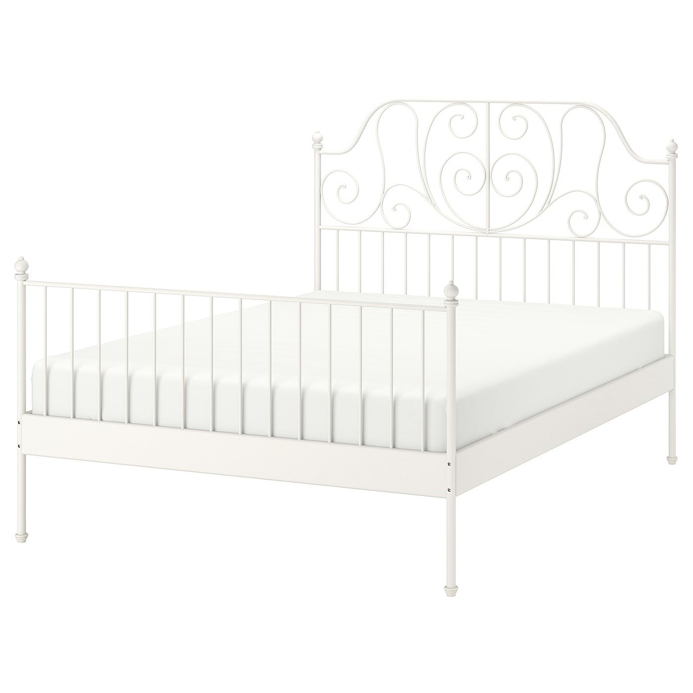 Ikea Leirvik Bed Frame White Luroy The Light And Airy Design Together With The Sturdy Metal Bed Frame Will Stand T Leirvik Bed Bed Frame Comfort Mattress