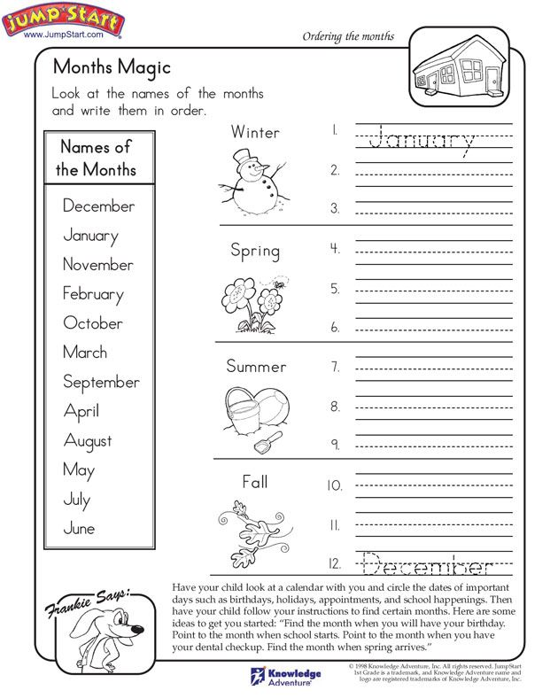 Months Magic Worksheet On The Months Of The Year Jumpstart Months In A Year Worksheets For Kids Kids Calendar
