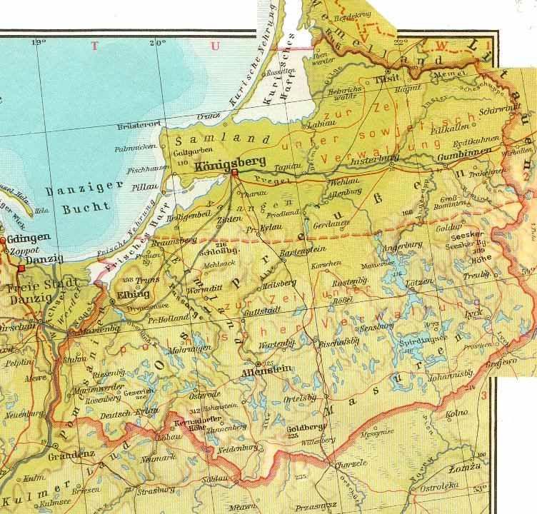 Ostpreußenkarte Mit Deutschen Namen