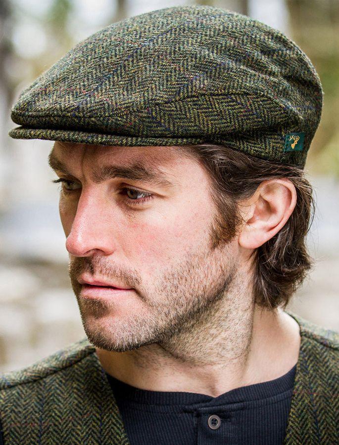 b1f17101ffd Irish caps for men in green tweed