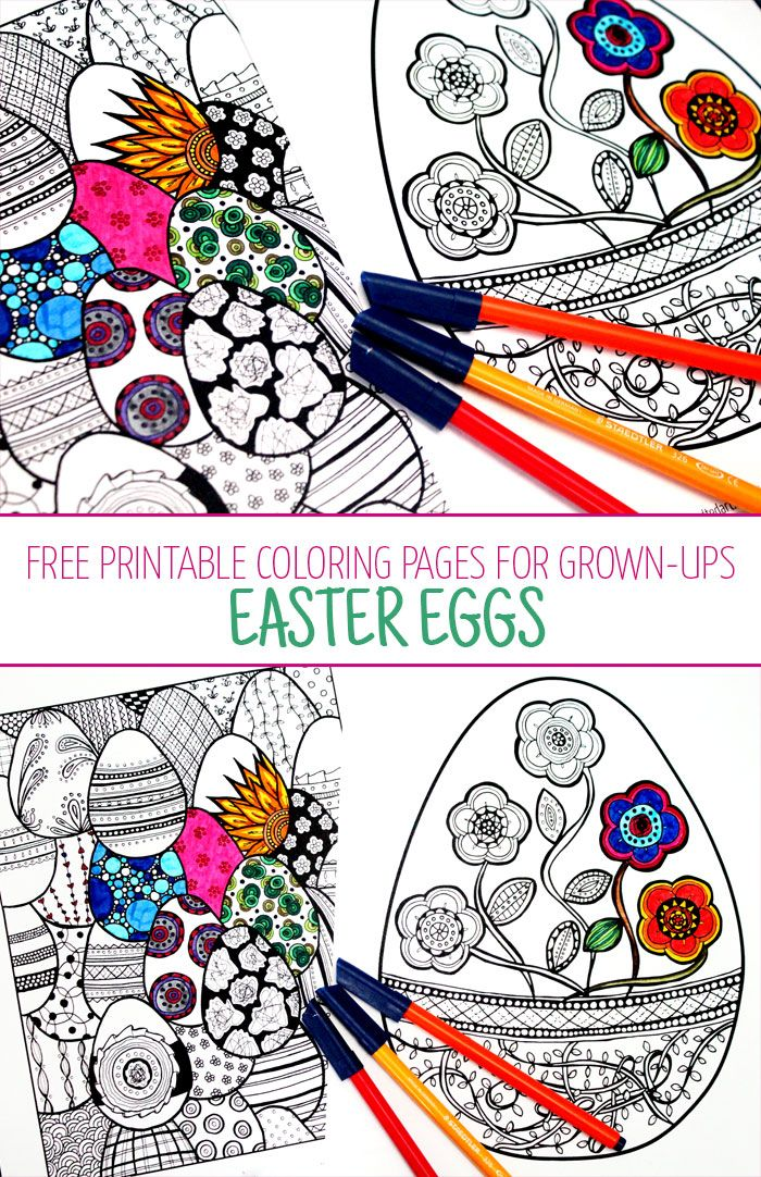Want Some Free Printable Coloring Pages For Adults Grab These Cool Complex Easter Egg Freebies