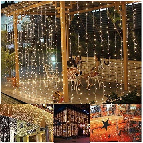 Aogist Curtain Lights 304led 9898ft Warm White Christmas Curtain String Fairy Wedding Led Lights for Home Garden Holiday Party Outdoor Wall Kitchen Bathroom Curtains Window Decorations >>> See this great product.