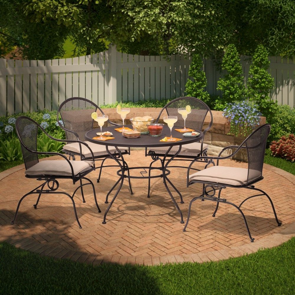 Hamlake 5-Piece Wrought Iron Motion Patio Dining Set | Patio ...