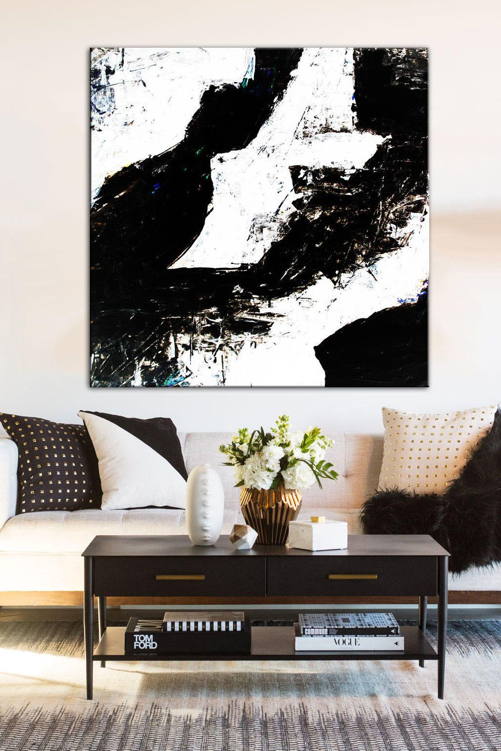 large contemporary painting black white art white painting on modern acrylic paintings for living room id=45776