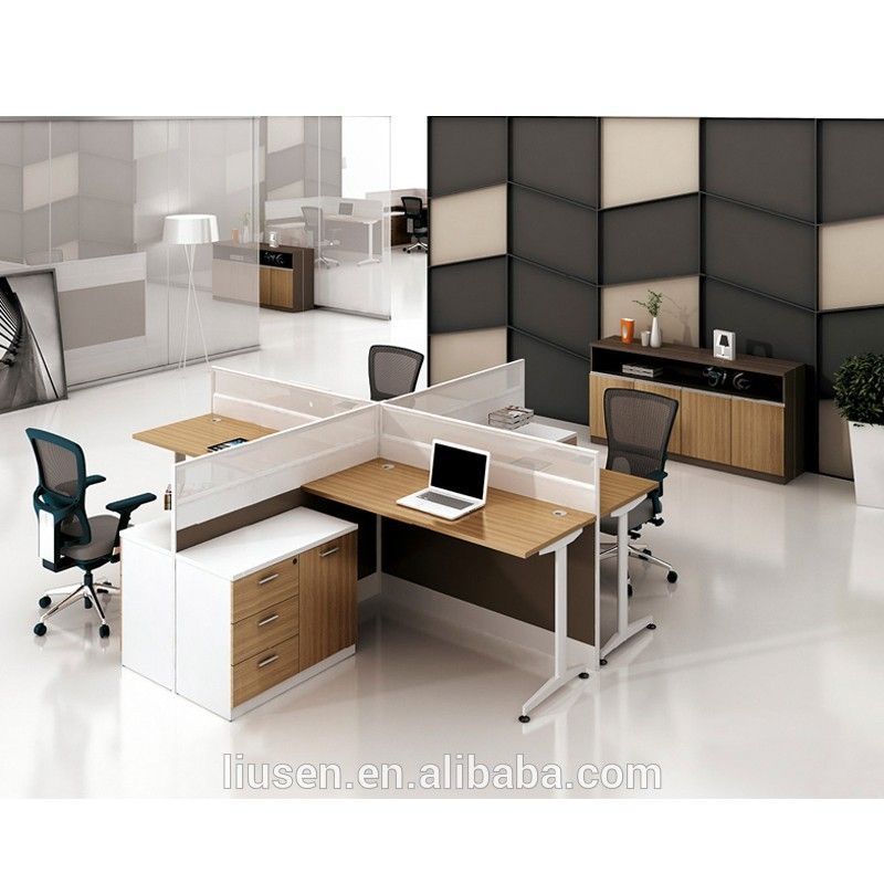 Big Discount Factory Direct Modular Office Furniture Wooden 4 People Office Workstation Cheap Office Furniture Modular Office Furniture Office Partition