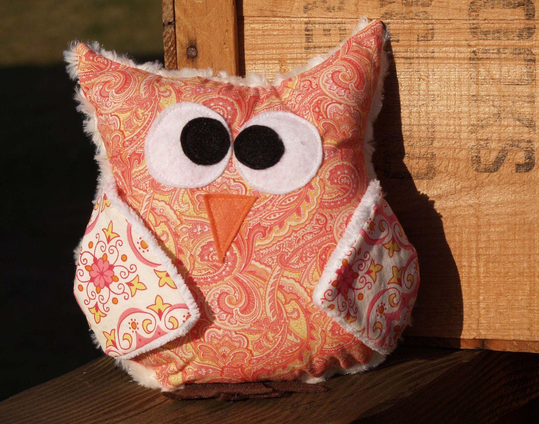 Plush Owl/Modern Owl Pillow/Owl Throw Pillow/Pink Owl/Small Owl ...