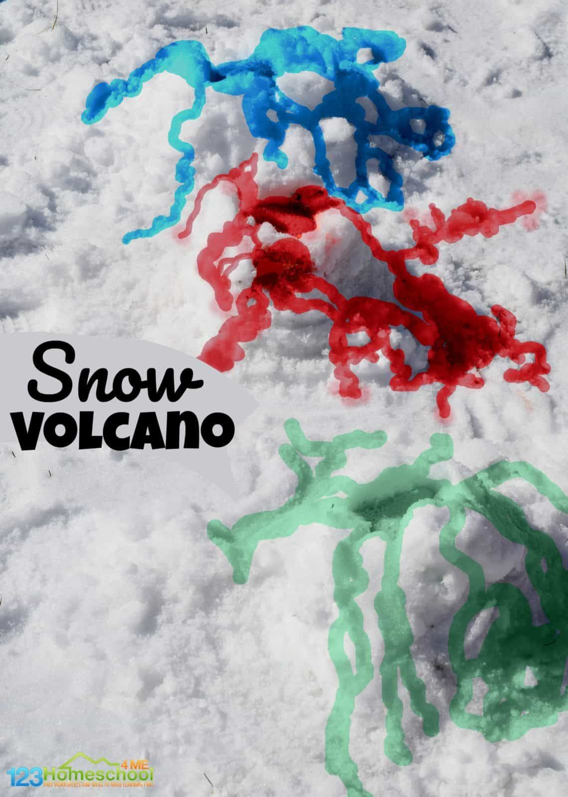 Snow Volcano Science Experiment In