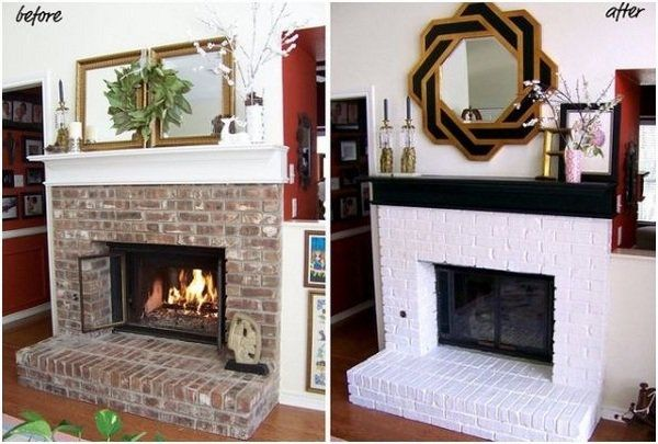 Brick Fireplace Makeover Before After Pictures Renovation Ideas Black White Paint