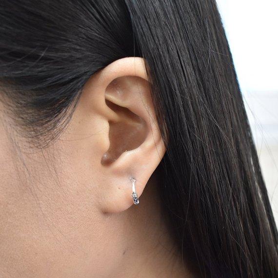 10mm Tiny Tribal Bali Style Hoops - Sterling Silver Hoop - Tribal Hoop  Small Earrings - Balinese Hoo 458fcbeb9354