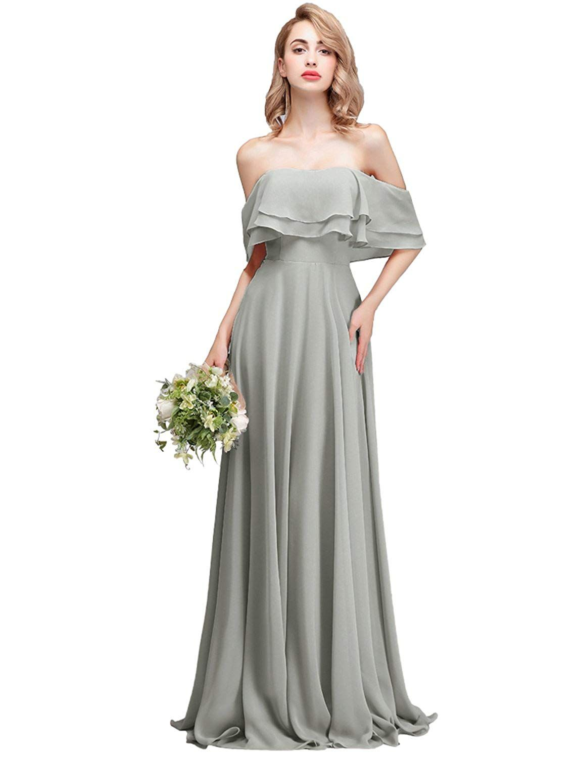 016744e619e2 CLOTHKNOW Strapless Chiffon Bridesmaid Dresses Long with Shoulder Ruffles  for Women Girls to Wedding Party Gowns at Amazon Women's Clothing store: