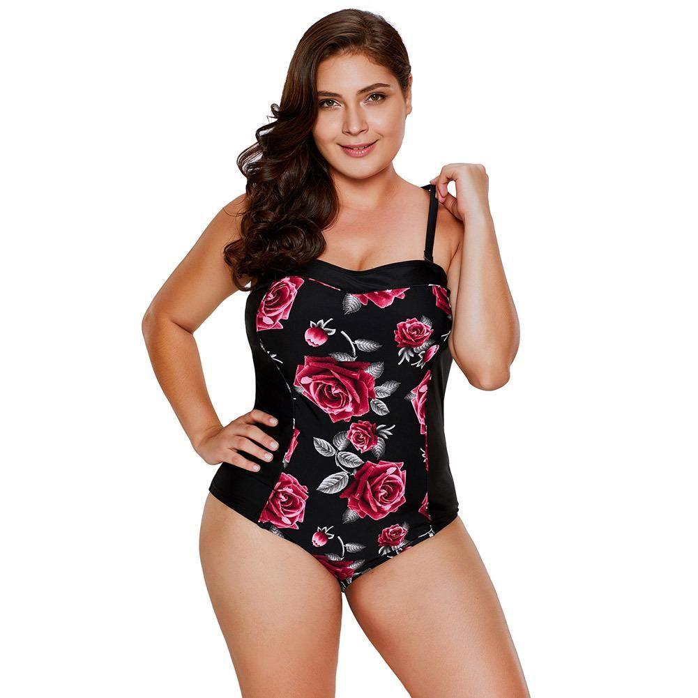 03f677eccb Plus Size Halter Underwire Floral One Piece Swimsuit – Pink-Always ...