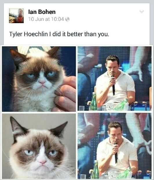 Ian bohen (peter)being grumpy cat and bagging out tyler (derek) #teenwolf
