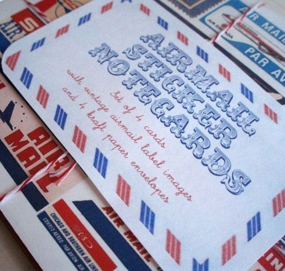 Airmail Stationery // Air Mail Label Note Cards by crabappledesign, $12.00