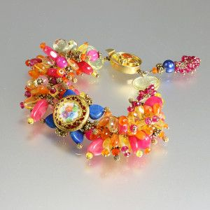 Bright color gemstone bracelet with antique button