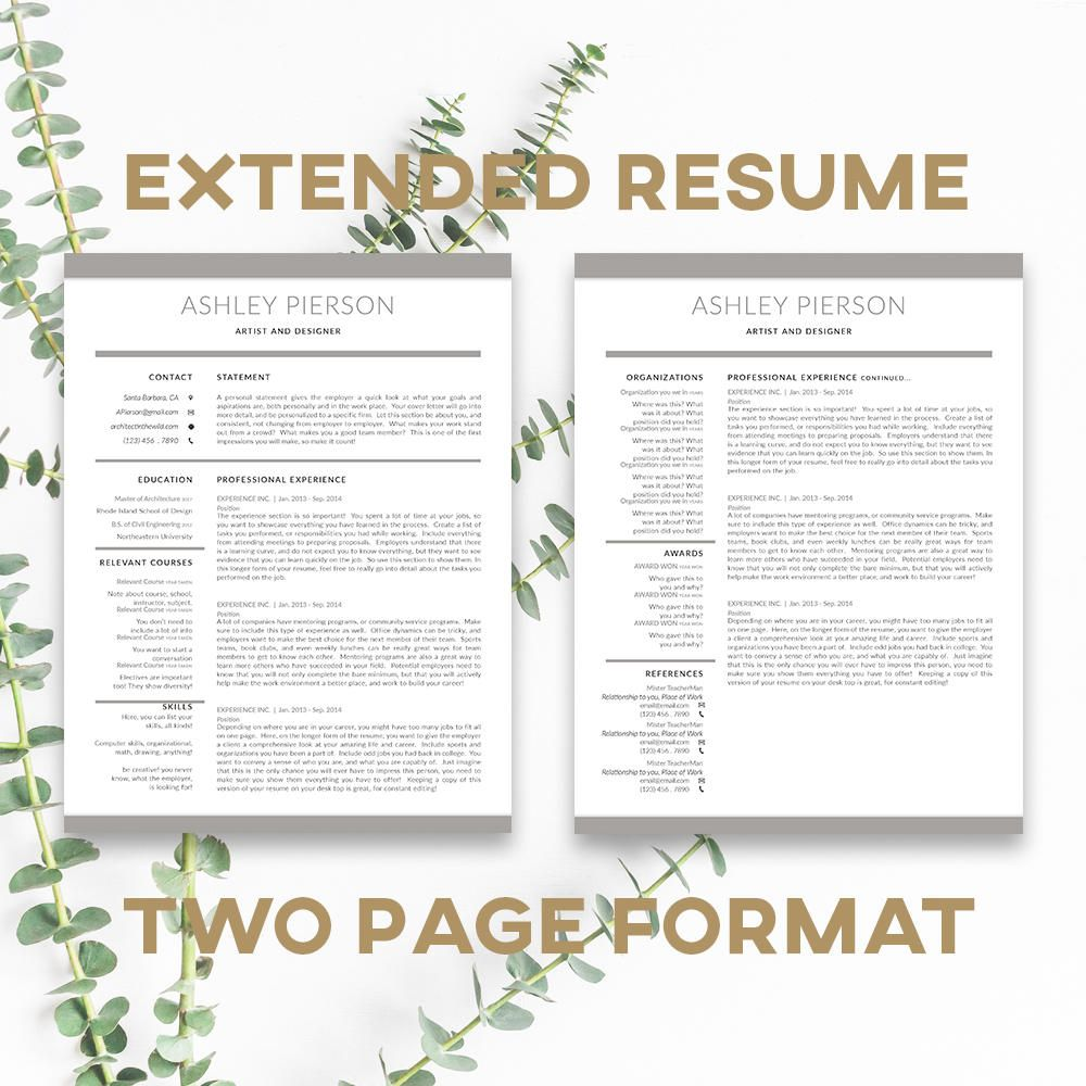 InDesign format | Resume Template | Cover Letter Template | Instant ...