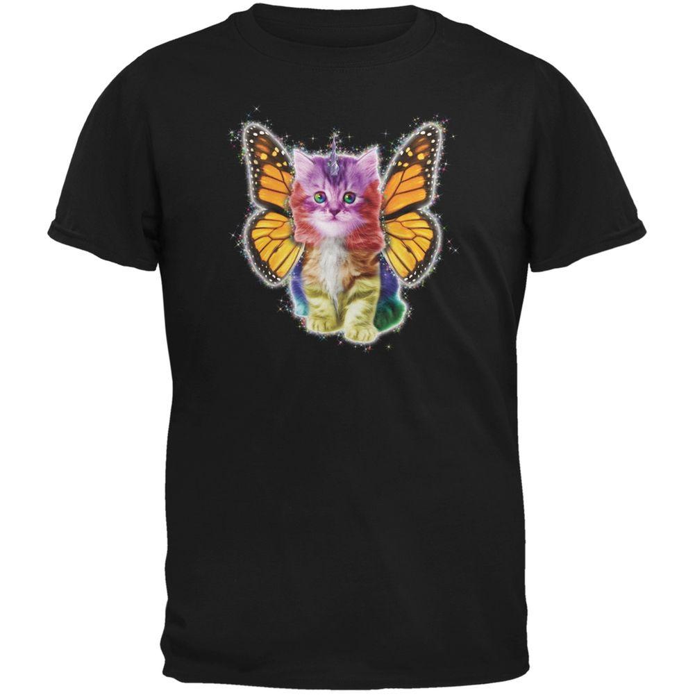 Rainbow Butterfly Unicorn Kitten Black Youth T Shirt Rainbow Butterfly Unicorn Kitten Rainbow Butterfly Kitten