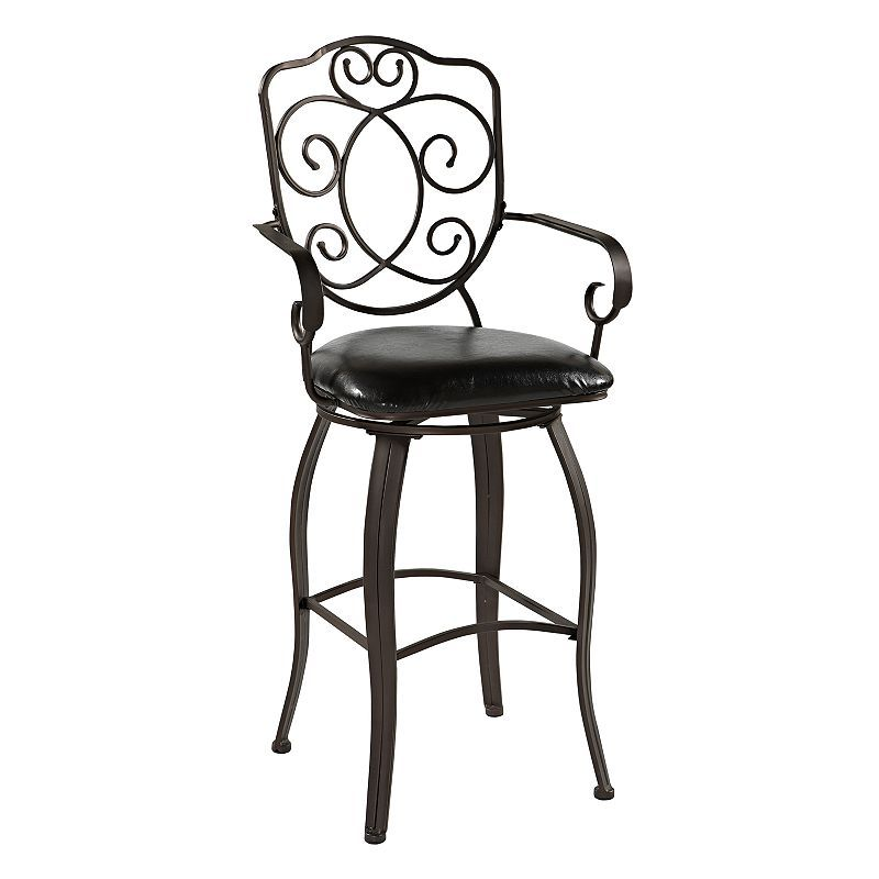 Linon Crested-Back Counter Stool, Brown