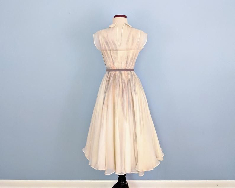 Abiti Da Sera Anni 40 50.Vintage 50s Painted Organza Party Dress Ethereal 1950s Cream