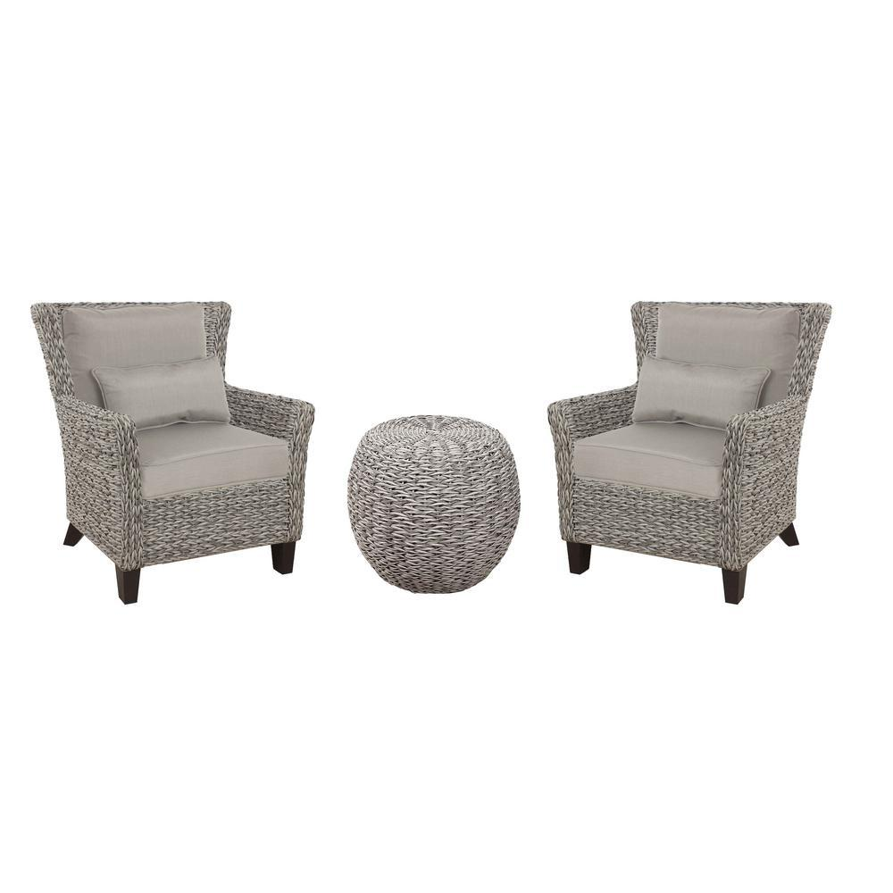 Hampton Bay Megan Grey 3 Piece Wicker Outdoor Patio Bistro Set
