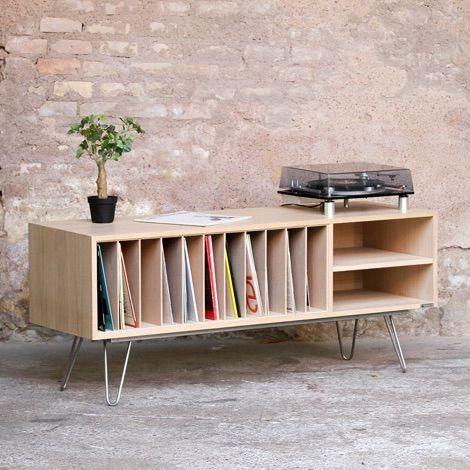 Meuble Vinyle Bas Esprit Vintage Meuble Vinyle Meuble Et Mobilier De Salon