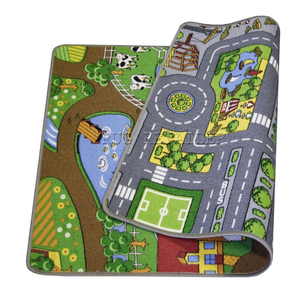 Details About Childrens / Kids Reversible Road / Farm Rugs
