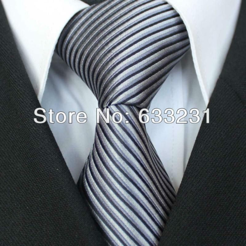 Wholesale Women Belts - Buy YIBEI Ties Silver With Black/Gray Stripe  Necktie For Wedding