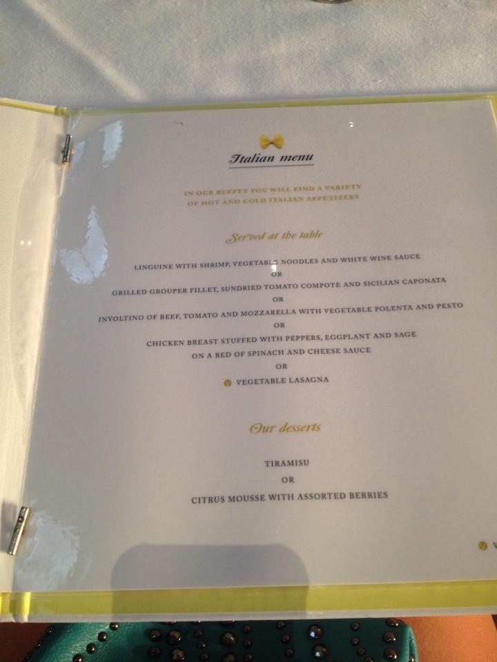 Italian Restaurant Menu  Riu Palace BavaroPunta Cana Dominican