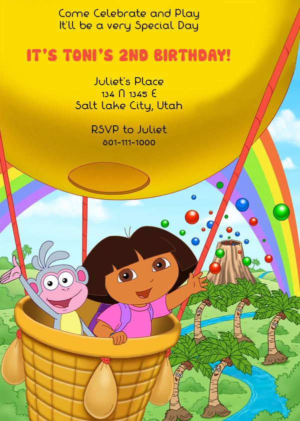 Dora the Explorer Free Birthday Invite | Birthday Invitation ...