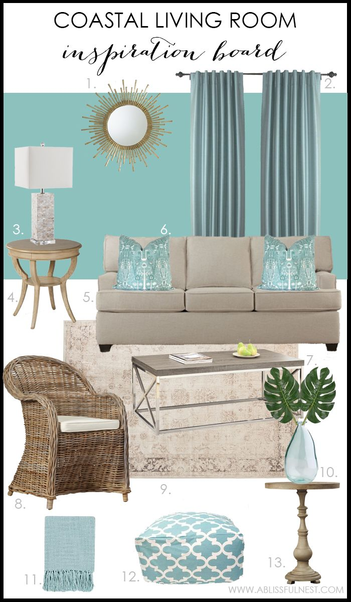 Room Coastal Living With Turquoise Accents Aqua