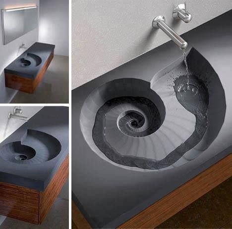 Golden Ratio Spiral Sink Bathroom Sink Design Spiral Sink